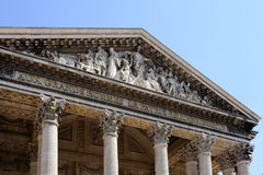 Paris (France) The Pantheon Temple. Close, law-angle view of the Pantheon pediment Royalty Free Stock Images
