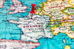 Paris, France pinned on vintage map of Europe Royalty Free Stock Photos