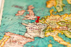 Paris, France pinned on vintage map of Europe Royalty Free Stock Image
