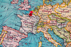 Paris, France pinned on vintage map of Europe Stock Images