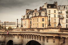 Paris, France. Pont Neuf vintage stylized photo Royalty Free Stock Photography