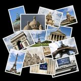 Paris, France. Postcard collage from Paris, France. Collage includes major landmarks like Triumphal Arch, Eiffel Tower, Vosges square and Opera Garnier Stock Images