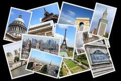 Paris, France. Paris postcards collage - France capital city landmark postcard collection stock photos