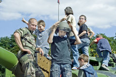 Paris, France, Public Events, Bastille Day. Paris, France, Public Events, National Day, Bastille Day, 14th of July, Children Meeting French Military on Public Stock Image