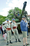Paris, France, Public Events, National Day, Bastil. Le Day, 14th of July, People Meeting French Military on Public Square, Near Parc Buttes Chaumont PS-48472 Stock Photos