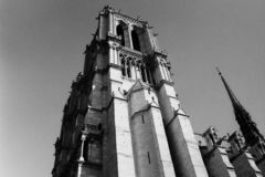 Paris, France, Saint-Jacques Tower, Tour Saint-Jacques, Gothic Tower, National Historic Landmark, Black And White Photography royalty free stock photos