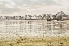 FRANCE, Saint-Malo town. The coast near the town of Saint-Malo at low tide Stock Photos