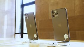 Apple Computers iPhone 11, 11 Pro and Pro Max goes on sale. Paris, France - Sep 20, 2019: Close-up of the rear view of the new iPhone 11 Pro Pro Max with triple stock video footage