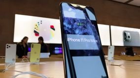 Apple Computers iPhone 11 Pro and Pro Max goes on sale. Paris, France - Sep 20, 2019: iPhone 11 Pro Max are displayed in Apple Store as the smartphone by Apple stock video footage