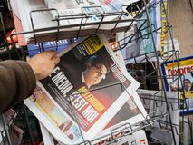 The Media is Me jean Luc Melenchon newspaper liberation France Stock Images