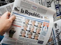 La republica with ultiple faces of Theresa May Stock Photography