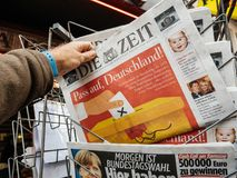 Die Zeit Newspaper with Angela Merkel portrait before the elctio Royalty Free Stock Photo