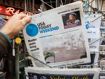 Hurricane Maria latest news at press kiosk in France Stock Photography
