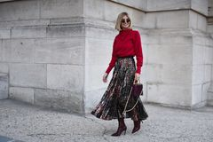 Street style outfits at Paris Fashion Week royalty free stock photo