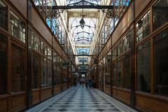 The Grand Cerf passage is one of the largest covered arcades in Paris. PARIS, FRANCE - SEPTEMBER 2, 2017: Grand Cerf covered arcade was created in 1825, not far Royalty Free Stock Photo
