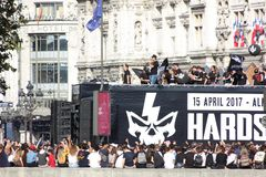 Paris France 24 september 2016 a musical truck with dj at the techno parade stock photo