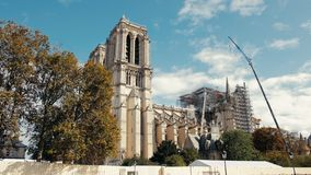 Paris, France - September 2019: Notre Dame de Paris after fire. Reinforcement work in progress after the fire, to. Prevent. The Cathedral to collapse in Paris stock video