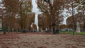 Timelapse of walking through Luxembourg Gardens in autumn, Paris. PARIS, FRANCE - SEPTEMBER 29, 2017: Timelapse shot of walking along tree lined promenade and stock footage