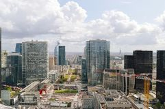 La Defense, Paris. Paris, France - September 12, 2017: View of the Avenue Charles de Gaulle from La Grande Arche, La Defense Stock Image