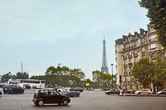 Paris, France - September 5, 2014: view of the Eiffel Tower from the crossroads Royalty Free Stock Photo