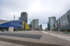 View of La Defense buildings, a major business district of the city, Paris, France royalty free stock photos