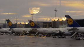 Lufthansa passenger airplanes at Charles de Gaulle Airport, France stock video footage