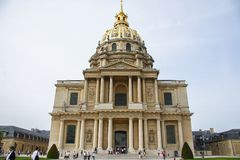 Sightseeing of Paris. Façade of the The National Residence of the Invalids. The court of honor of the Invalides. 05.04.2008, Paris, France. Sightseeing of stock images