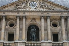 Sightseeing of Paris. Façade of the The National Residence of the Invalids. Statue of Napoleon in the court. 05.04.2008, Paris, France. Sightseeing of Paris royalty free stock photos