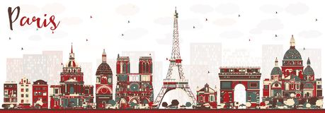 Paris France Skyline with Color Landmarks. Vector Illustration. Business Travel and Tourism Concept with Historic Buildings. Paris Cityscape Royalty Free Stock Image