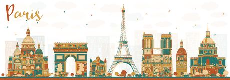Paris France Skyline with Color Landmarks. Vector Illustration. Business Travel and Tourism Concept with Historic Buildings. Paris Cityscape Stock Image