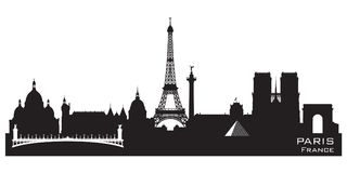 Paris France city skyline vector silhouette. Paris France skyline Detailed vector silhouette vector illustration