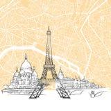 Paris France Skyline Map Stock Image