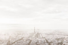 Paris, France skyline in misty fog. Eiffel Tower foggy, unique view. Aerial Royalty Free Stock Photo