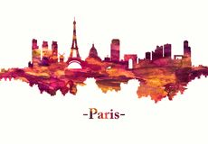 Paris France skyline in red royalty free illustration