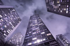 Paris, France. Skyscrapers in Paris, France, at night stock photo