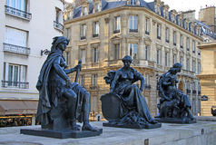 PARIS, FRANCE - Statues of six continets in front of Orsay Museum Royalty Free Stock Photos