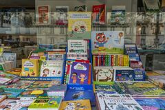 Paris, France, 09/10/2019: Street counter with children`s books. Close-up
