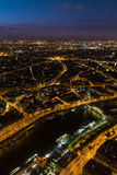 Paris, France at sunset. Aerial view from the Eiffel Tower Stock Photography