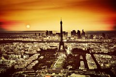 Paris, France at sunset. View on the Eiffel Tower Stock Images