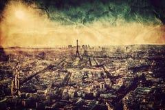 Paris, France at sunset. Vintage. Paris, France at sunset. Aerial view on the Eiffel Tower, Arc de Triomphe, Les Invalides etc. Vintage, retro style Stock Image