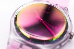 Paris, France 07.10.2020 - Swatch quartz watch Fluorescent plastic case
