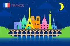 Paris, France Travel Landmarks. Vector and Illustration Stock Photo