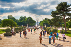 PARIS, FRANCE. Tuileries Garden. PARIS, FRANCE - JUNE 24, 2016. Parisians and tourists walk in famous Tuileries Garden (Jardin des Tuileries). Alley between the Stock Images