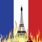 PARIS/FRANCE - Vendredi, le 13 novembre 2015, attaques de terreur à travers Paris Vecteur de Tour Eiffel Photos libres de droits