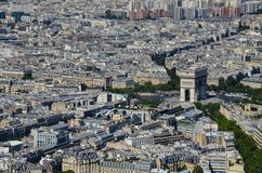 Paris, France view at Arc de Triomphe de l`Étoile in Paris from Eiffel Tower at sunny day stock photography