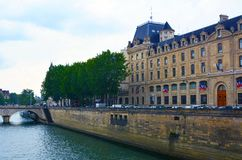 PARIS, FRANCE - 25.05.2018:View of the Hotel-Dieu building. Is the oldest hospital in the city of Paris. It was the only hospital in Paris until the royalty free stock photo