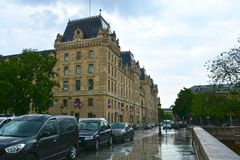 PARIS, FRANCE - 25.05.2018:View of the Hotel-Dieu building. Is the oldest hospital in the city of Paris. It was the only hospital in Paris until the royalty free stock images