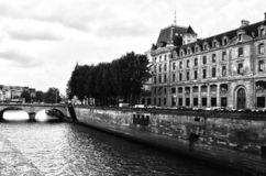 PARIS, FRANCE - 25.05.2018:View of the Hotel-Dieu building. Is the oldest hospital in the city of Paris. It was the only hospital in Paris until the royalty free stock photography