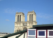Paris France view of Notre Dame from left bank River Seine kiosk Stock Images
