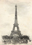 PARIS, FRANCE. Vintage illustration with Eiffel Tower Royalty Free Stock Photography